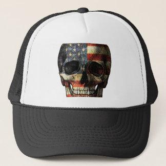 American flag skull trucker hat
