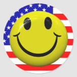 American Flag Smiley Face Stickers