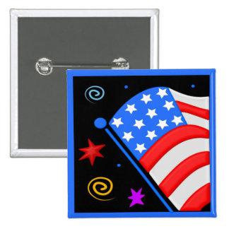 American Flag Square Button