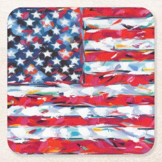 American Flag Square Paper Coaster
