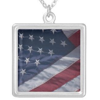 American flag. square pendant necklace