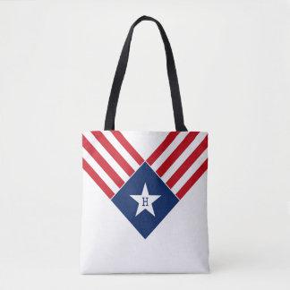 American Flag Star and Stripes Patriotic Monogram Tote Bag