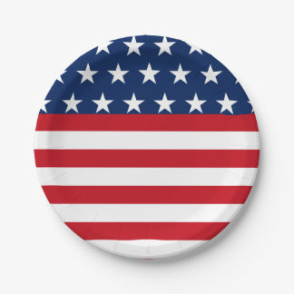 American Flag Star and Stripes Patriotic Paper Plate