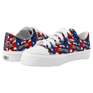 American Flag Star Pattern Low Top Adult Shoes Printed Shoes