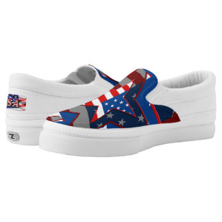American Flag Star Zipz Slip On Adult Shoes Printed Shoes
