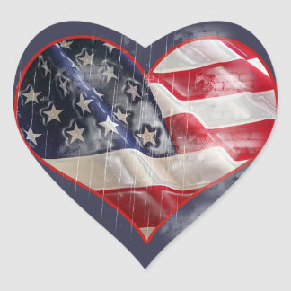 American Flag, Stars and Stripes Heart Sticker