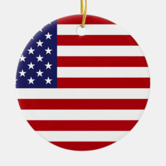 American Flag - Stars and Stripes - Old Glory Round Ceramic Decoration