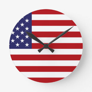 American Flag - Stars and Stripes - Old Glory Round Clock