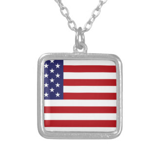 American Flag - Stars and Stripes - Old Glory Silver Plated Necklace