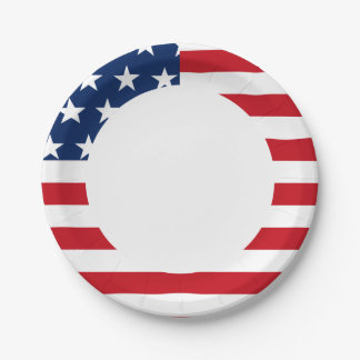 American Flag Stars and Stripes Patriotic 7 Inch Paper Plate
