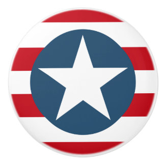 American Flag Stars and Stripes Patriotic Ceramic Knob