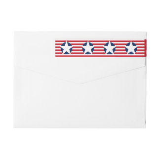 American Flag Stars and Stripes Patriotic Wraparound Return Address Label