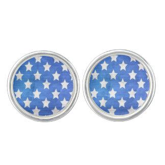 AMERICAN FLAG STARS CUFFLINKS, BLUE AMERICA GIFT CUFFLINKS