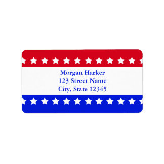 American Flag Stars Red White Blue Custom Text Label