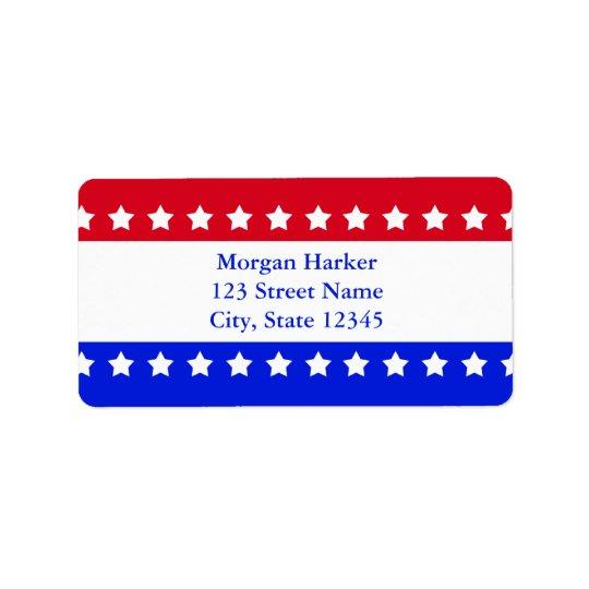 American Flag Stars Red White Blue Custom Text Label