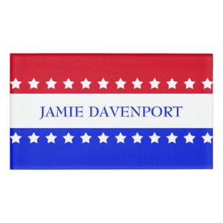 American Flag Stars Red White Blue Name Tag