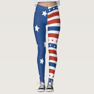 American Flag Stars Stripes Patriot Design Leggings