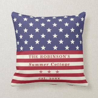 American Flag Stars & Stripes | Summer Family Name Cushion
