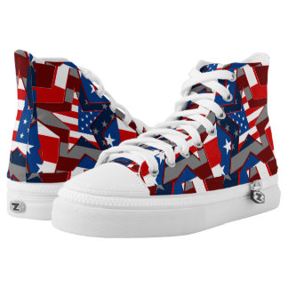 American Flag Stars Zipz High Top Adult Shoes Printed Shoes