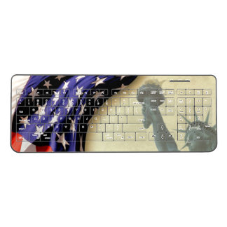 American Flag Statue of Liberty Wireless Keyboard