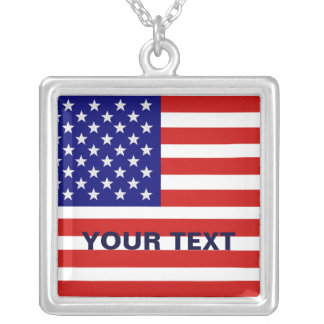 American Flag Sterling Silver Necklace
