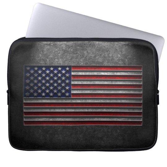 American Flag Stone Texture Laptop Sleeve
