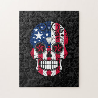 American Flag Sugar Skull with Roses Puzzle