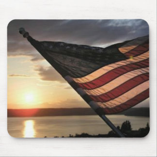 American Flag Sunset Mouse Pad