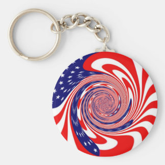 American Flag Swirl Basic Round Button Key Ring