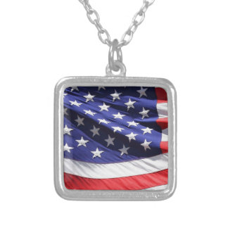 American-flag-Template Square Pendant Necklace