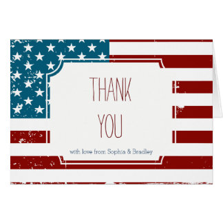 American Flag Thank you Note Card