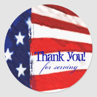 American Flag Thank You Round Sticker