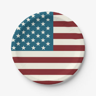American Flag Themed Patriotic Plates 7 Inch Paper Plate
