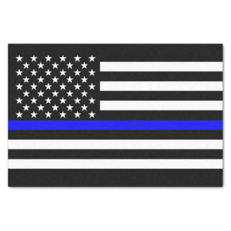 American Flag Thin Blue Line Memorial Symbol on Tissue Paper