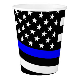 American Flag Thin Blue Line Paper Cup