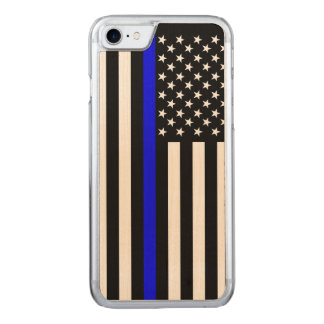 American Flag Thin Blue Line Symbol on a Carved iPhone 8/7 Case