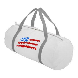American flag tribal flames gym duffel bag