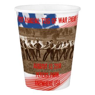 American Flag Tug of War 1890's Photograph Men Tug Paper Cup