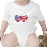 American Flag/Union Jack Flag Hearts Baby Creeper