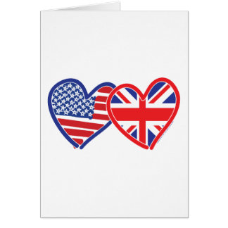 American Flag/Union Jack Flag Hearts Greeting Card