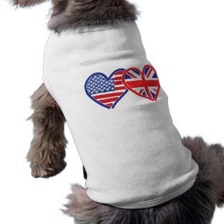 American Flag/Union Jack Flag Hearts Sleeveless Dog Shirt