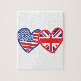 American Flag Union Jack Flag Hearts Jigsaw Puzzle