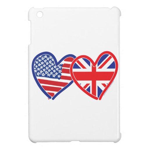 American Flag Union Jack Hearts iPad Mini Covers