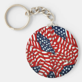 American Flag-Unity & Love_ Basic Round Button Key Ring