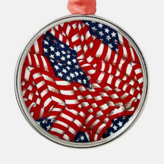 American Flag-Unity & Love_ Silver-Colored Round Decoration
