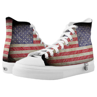 American Flag USA Grunge Printed Shoes
