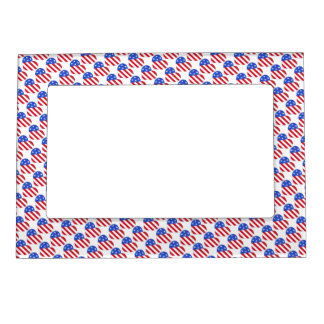 American Flag USA Patriotic July 4th Heart Frame