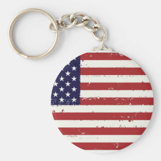 American Flag, USA/US Basic Round Button Key Ring