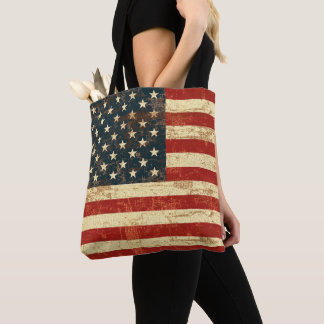 American Flag Vintage Distressed Tote Bag
