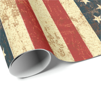 American Flag Vintage Distressed Wrapping Paper